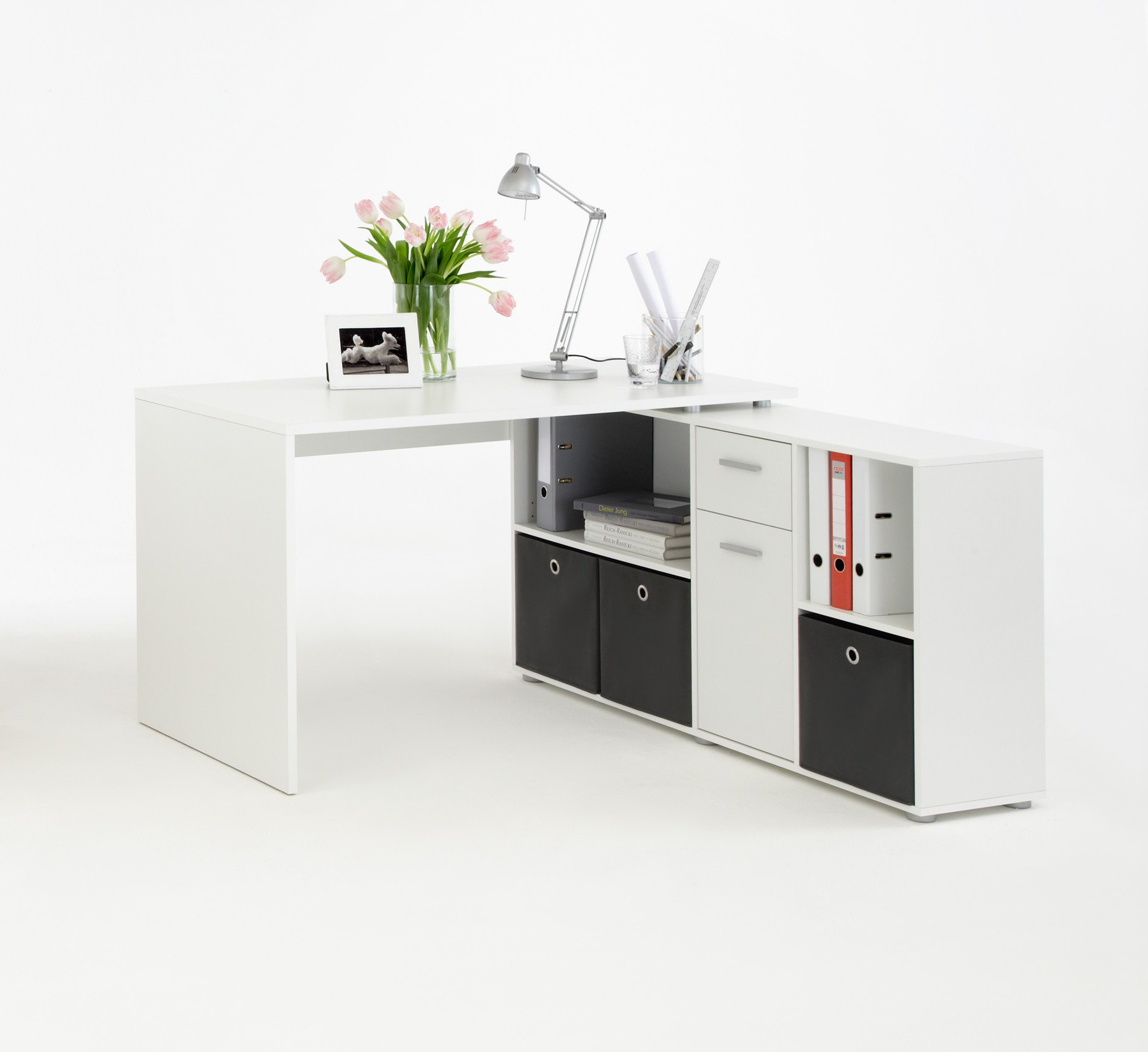 bureau d 39 angle blanc pour am nager comme il se doit le local de travail mon bureau d 39 angle. Black Bedroom Furniture Sets. Home Design Ideas